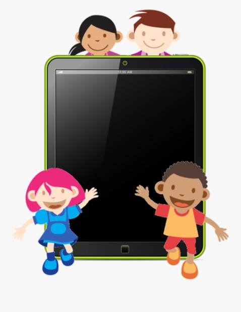 Kids With iPad Clipart