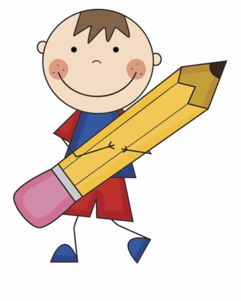 Boy Holding A Big Pencil Clipart