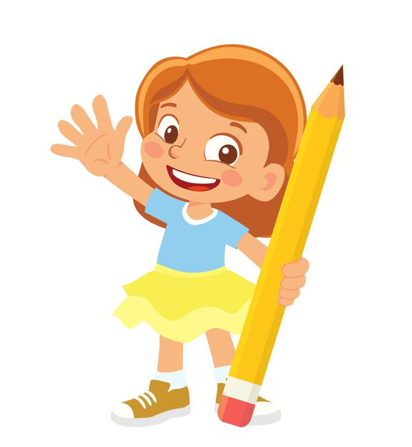 Clipart Of A Girl Holding A Pencil