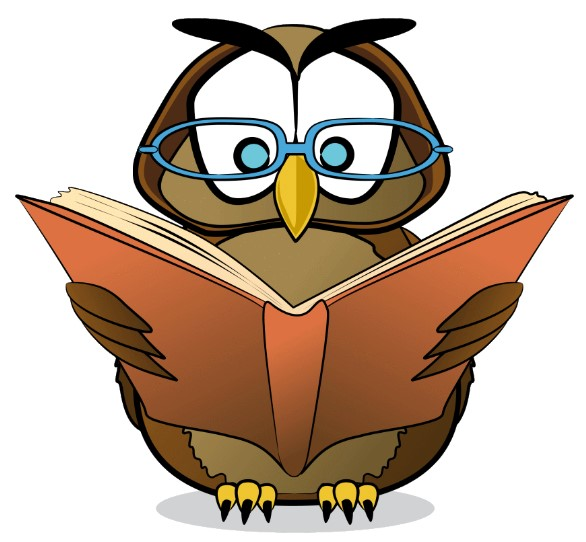 Clipart of an Owl Reading