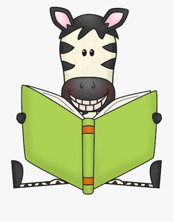 Zebra Reading Book Clipart