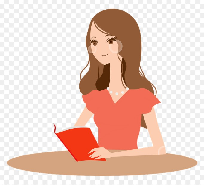 Clipart Of A Woman Reading