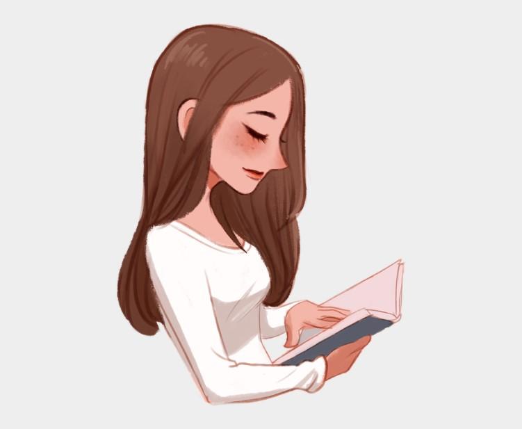 Clipart Beautiful Girl Reading Book