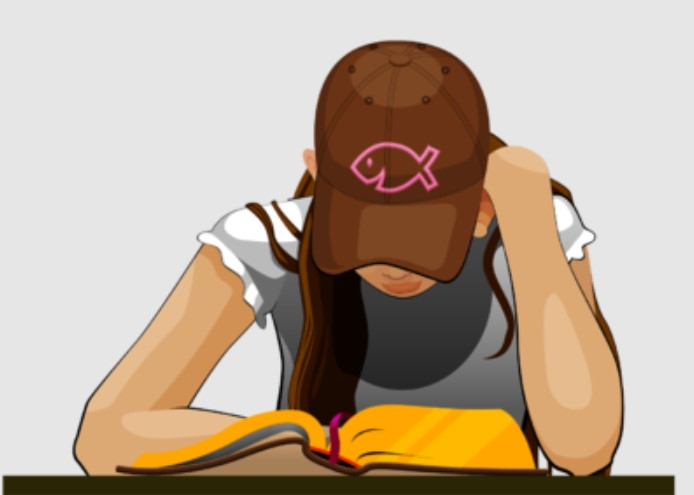 Clipart of A Girl Reading Bible