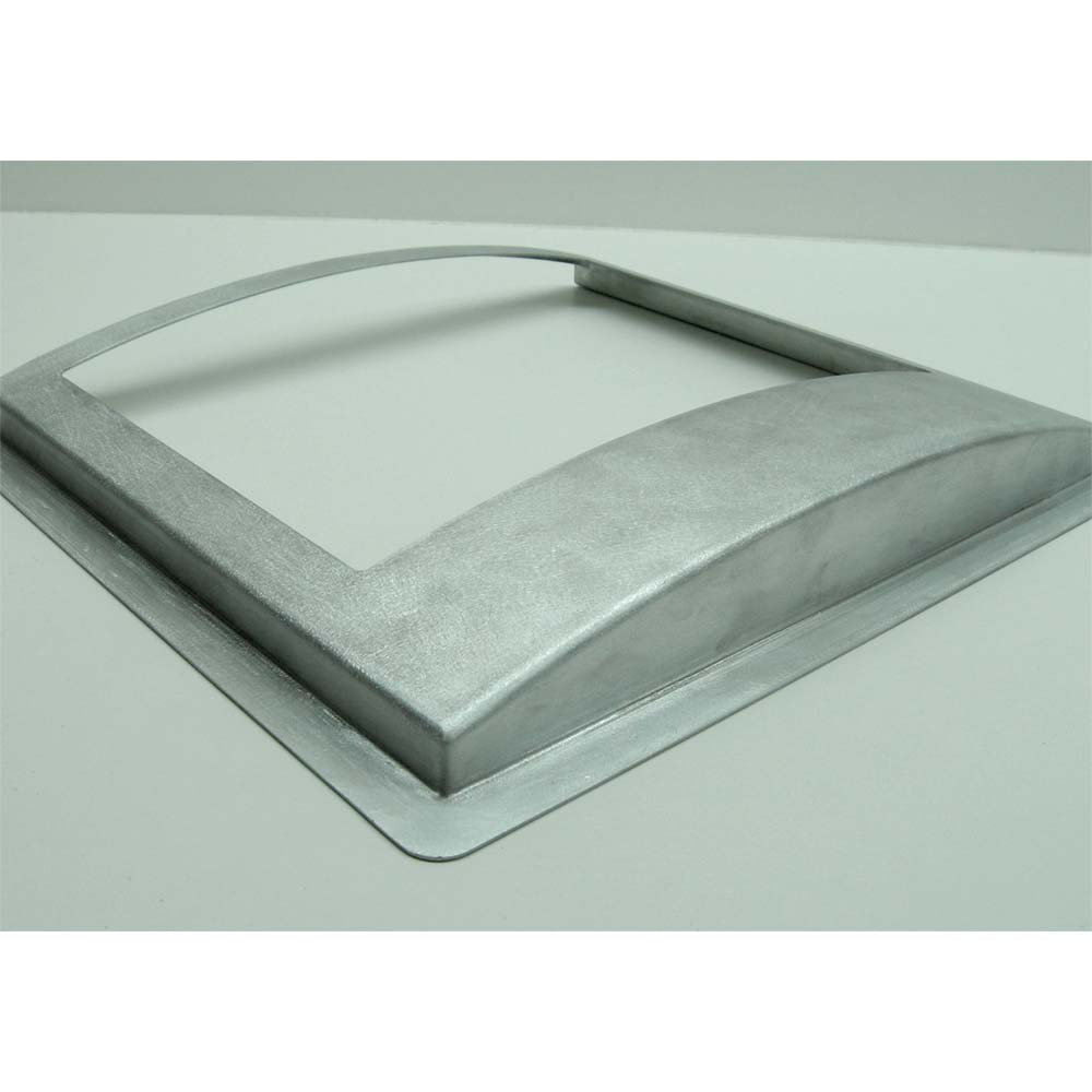 Bare aluminum shroud following laser cutting, forming, welding