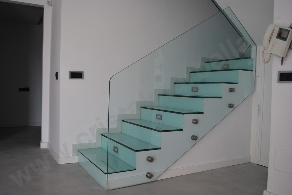 A-6 Impact glass railing with glass steps impact