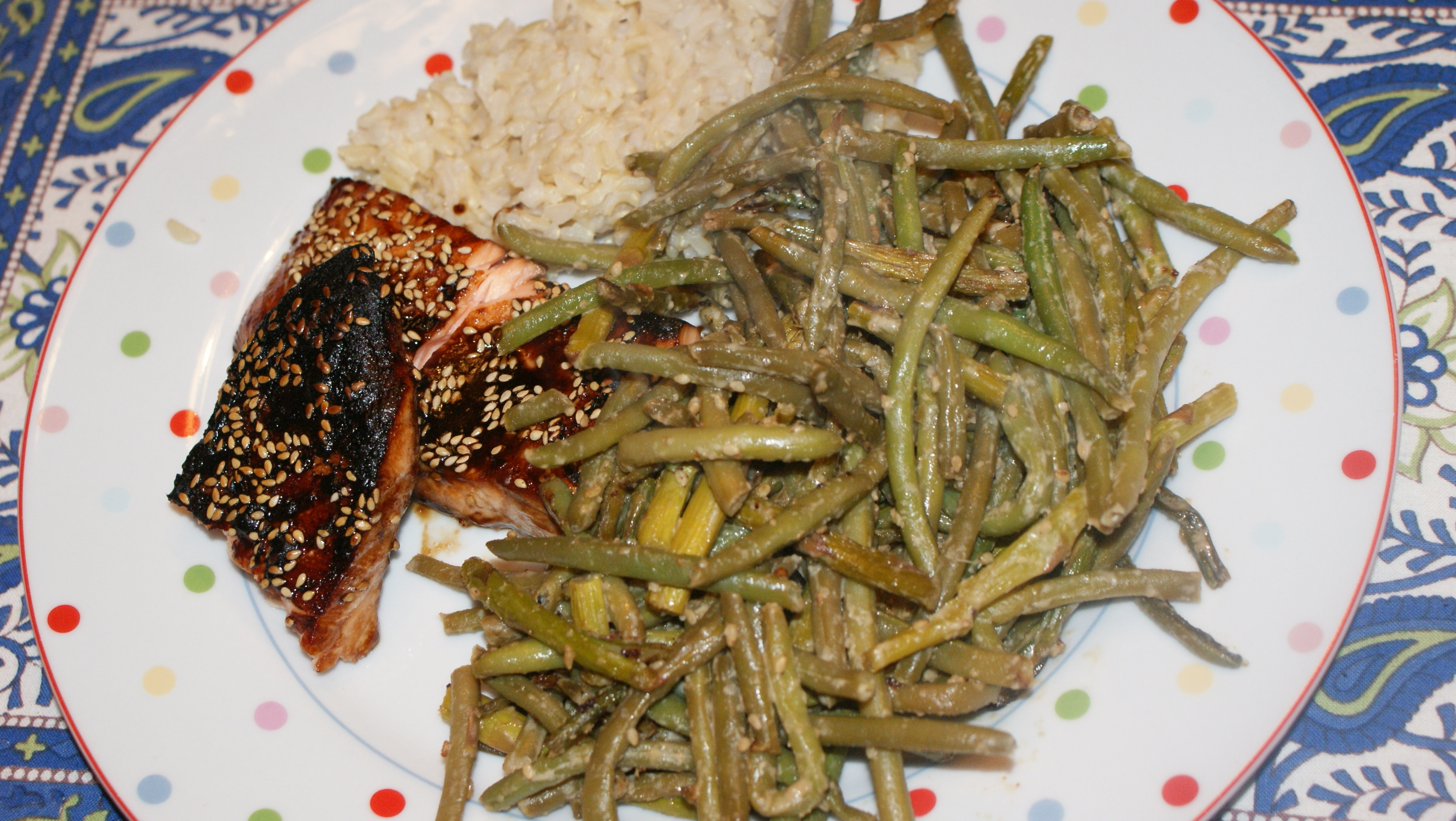Sesame Green Beans and Asparagus with Salmon