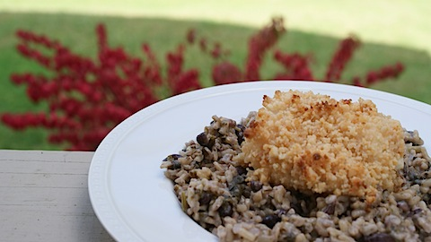 6 ingredient Dinner: Macadamia Crusted Cod over Coconut Black Bean Rice