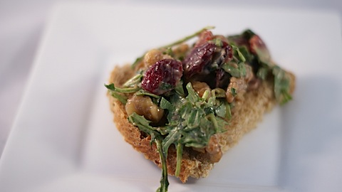 Goat Cheese, Toasted Walnut, Arugula and Cranberry Bites