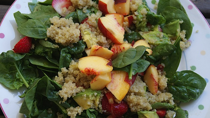 Spinach Salad with Summer Fruit & Quinoa + Anna's Eats
