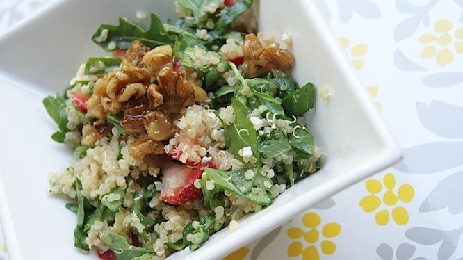 Healthy Summer Quinoa with Strawberries, Walnuts + Arugula