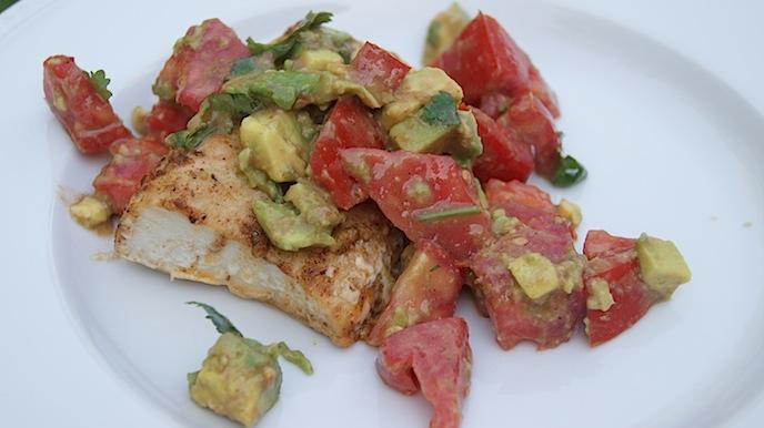 Mahi Mahi with Fresh Tomatoes + Avocado
