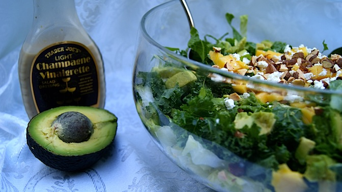 Kale + Avocado Salad with Mango + Goat Cheese