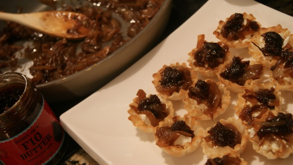 Caramelized Onion, Fig + Goat Cheese Phyllo Cups