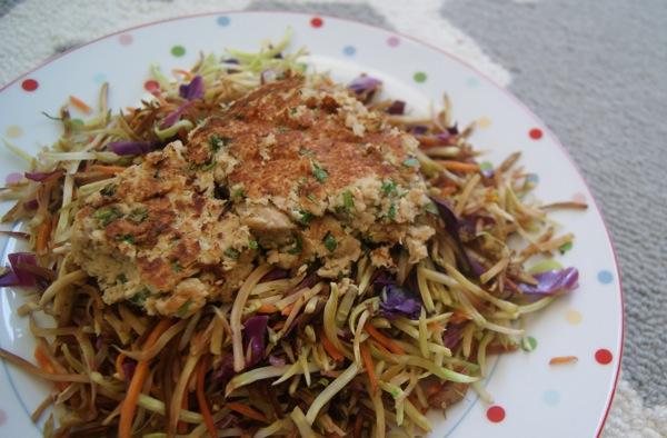 Healthy Asian Tuna Burgers over Broccoli Slaw