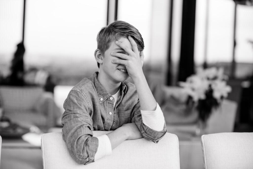 black and white portrait of child in Austin