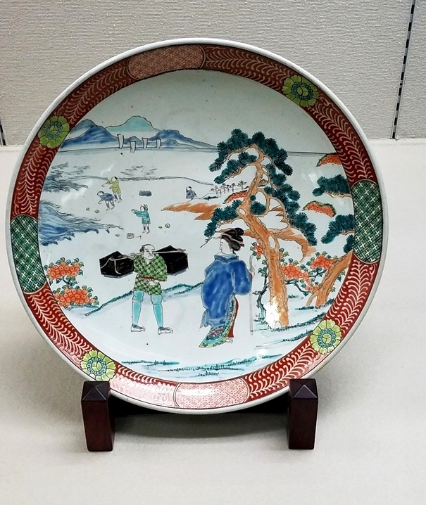 Миниатюра на тарелке 17в. Практически бытовой реализм голландской изобразительной школы. (Музей керамики Кюсю)