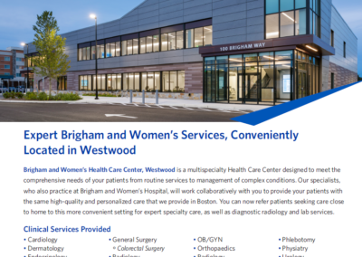 Referral Flyer for Westwood Center