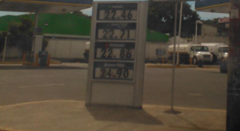 El actual precio de los combustibles en Nicaragua (enero 2015)