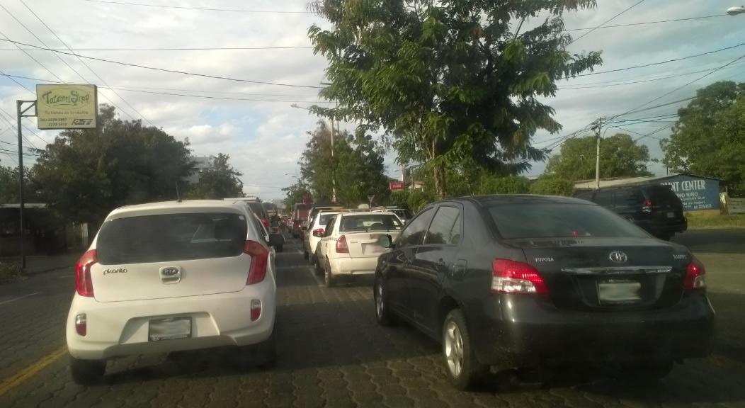 El trafico en Managua en hora pico
