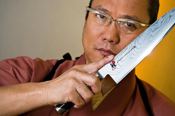 Chef Morimoto holding Chef knife