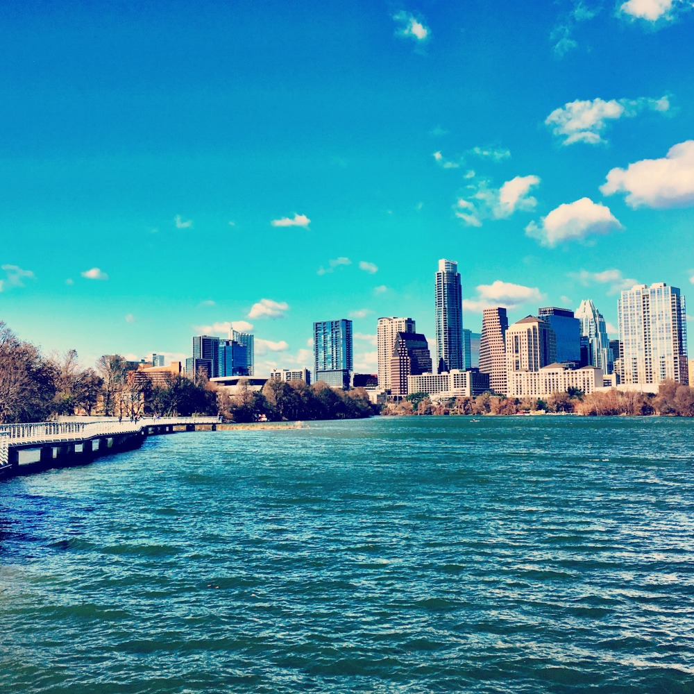 Austin Skyline from Lady Bird Lake Boardwalk