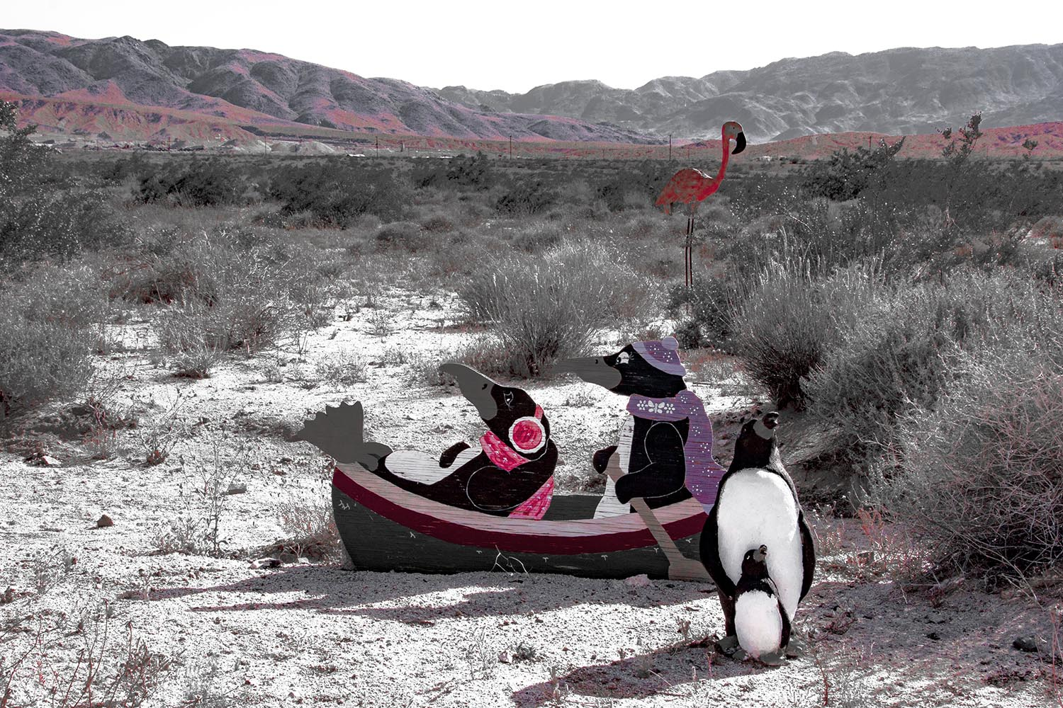 Glass Outhouse Art Gallery | Penguins in the Desert