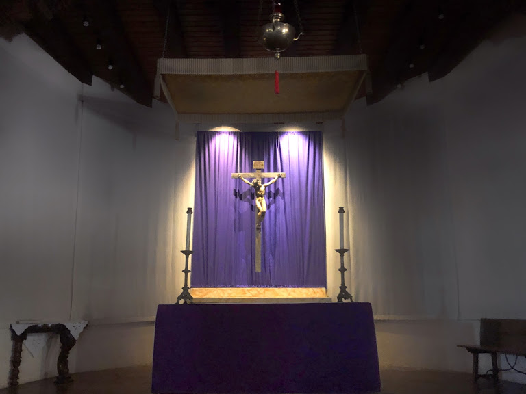 The High Altar in the darkened church, Lent 2020
