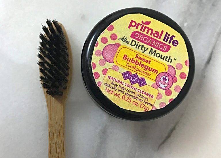 Mini sweet bubblegum Dirty Mouth Toothpowder and charcoal toothbrush