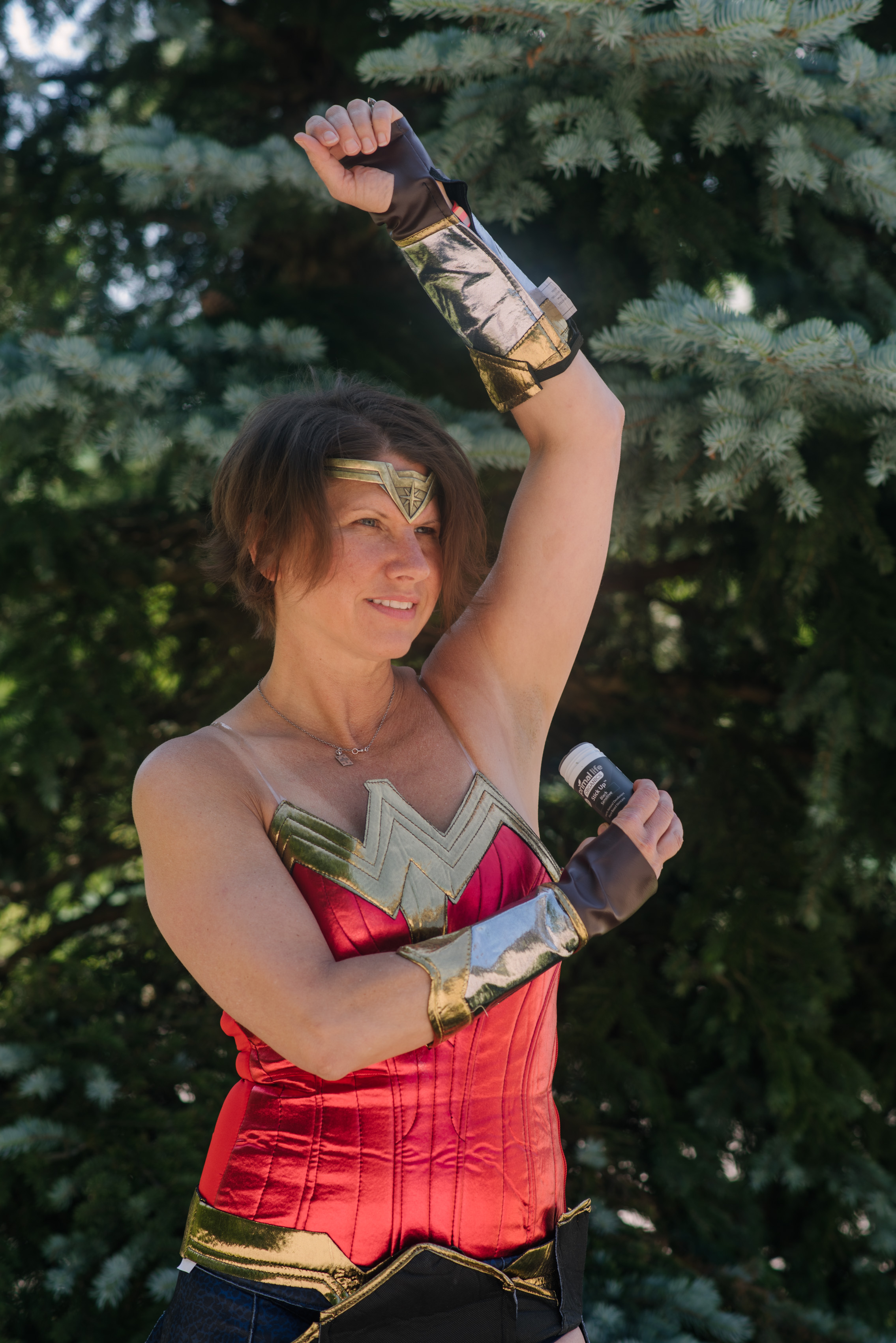 Trina Felber as Wonder Woman with Stick Up Natural Deodorant from Primal Life Organics