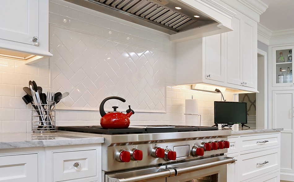 White Kitchen Cabinets with-Stainless Steel Appliances stove