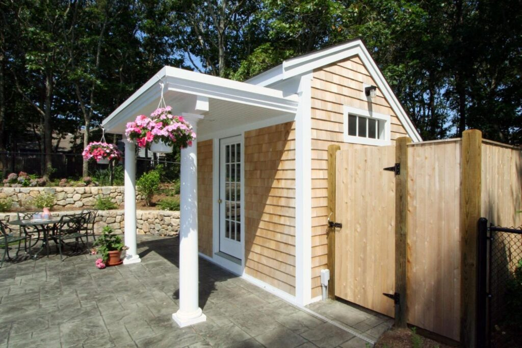 cape cod pool house outdoor shower
