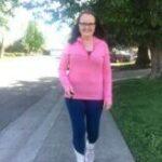 Blog author Kathy outside walking