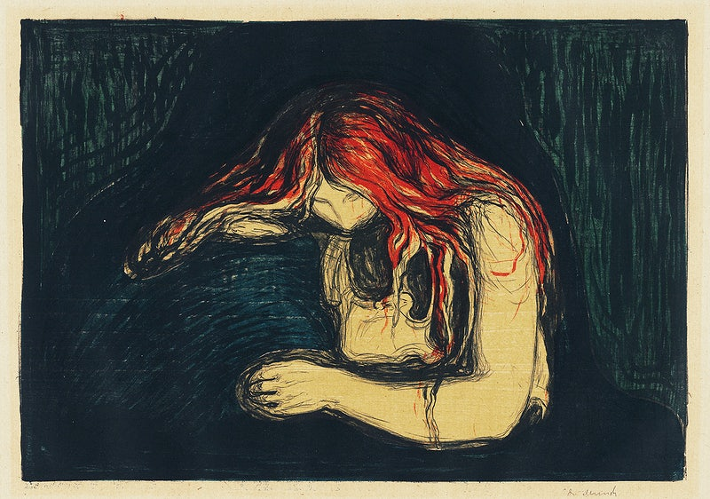 Edvard Munch painting of women with long red hair in despair