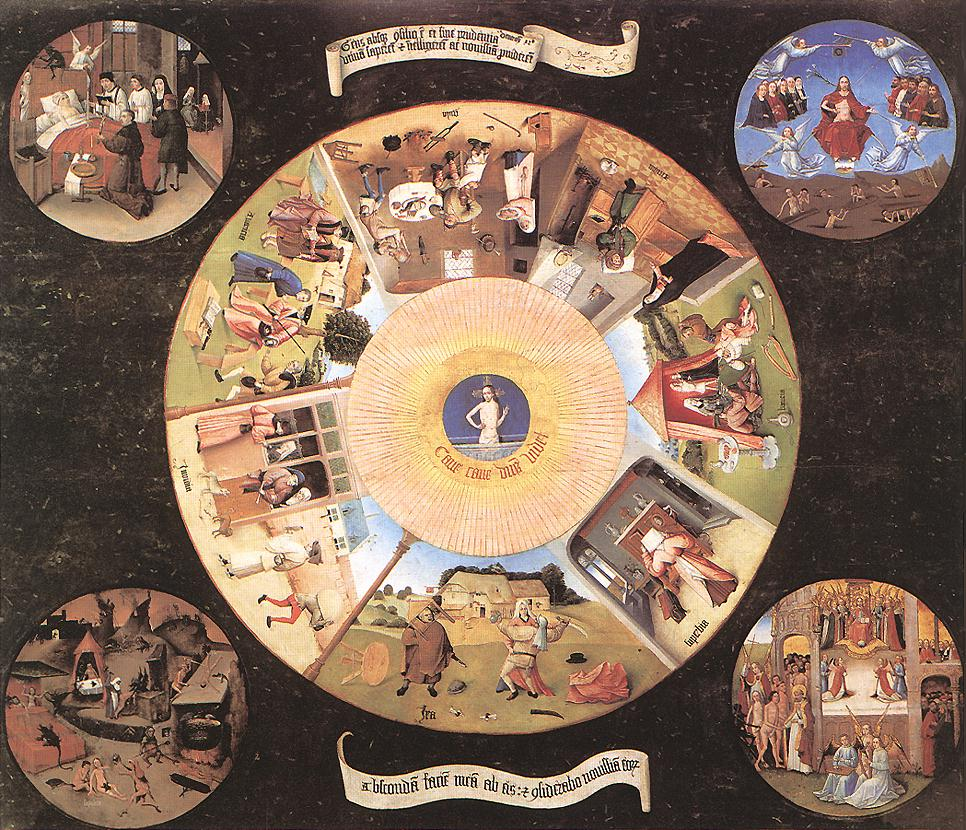 Circle in sections depicting the seven deadly sins with four outer circles showing religious scenes. Picture painted by Hieronymus Bosch.
