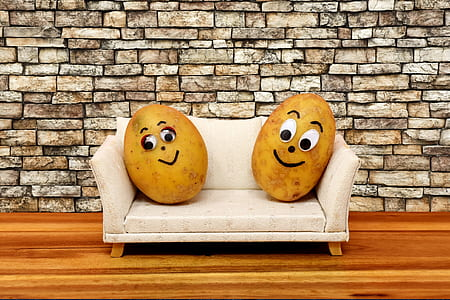 two smiling potatoes sitting on a couch. They are couch potatoes