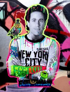 Picture of Jerry Seinfeld, comedian, outlined in fluorescent green and pink with a cartoon bird on his shoulder