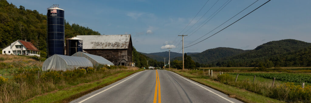 Rural farmland along Route 100 in Vermont.