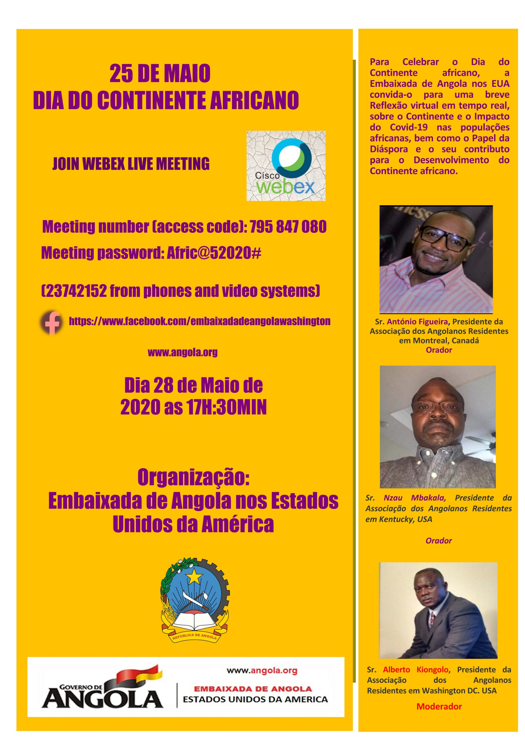 Angola Embassy invites to celebrate Africa Day on May 28 at 5:30 pm