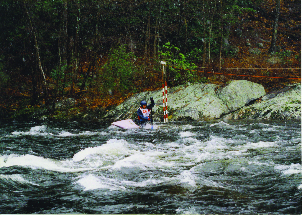 Jamie McEwan racing at the Punch Brook Slalom, 2000 (Norman Bird)