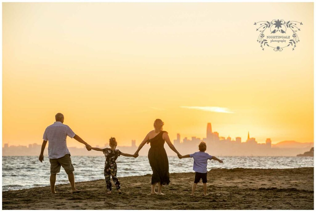 Sunset family beach portraits in the Bay Area by Nightingale Photography