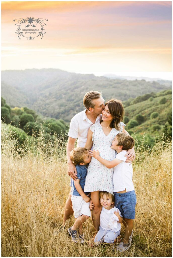 Natural family portrait session at sunset in the Bay Area by Nightingale Photography