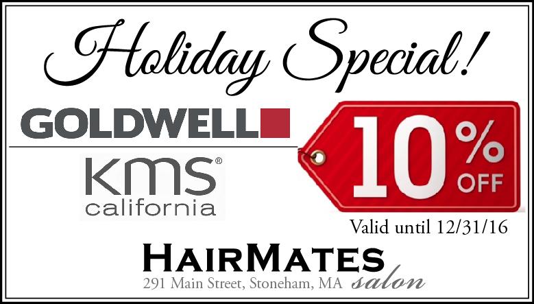 holiday coupon at Stoneham MA hair salon