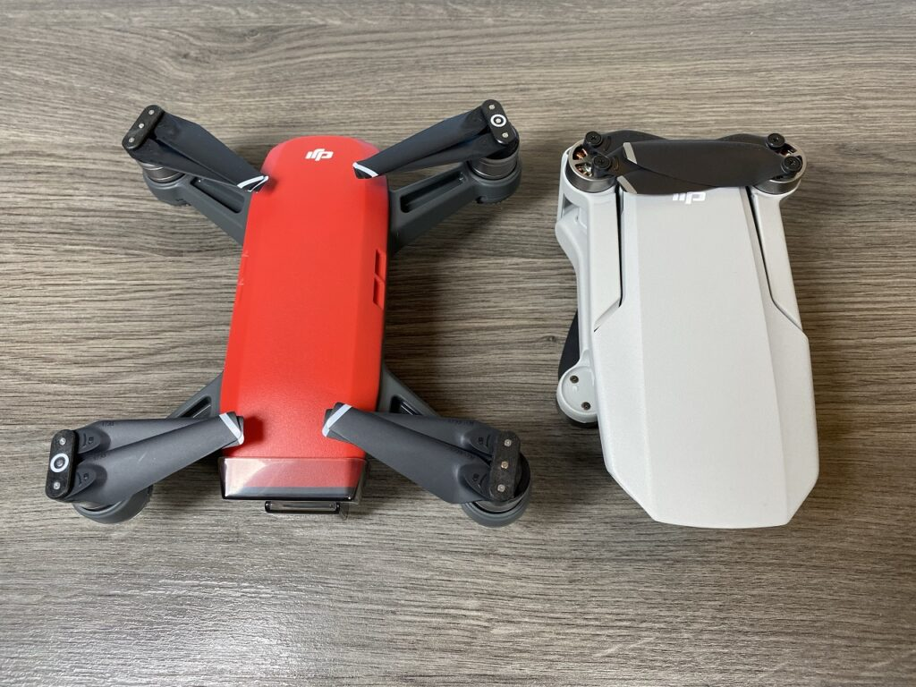 Here is a size comparison of the DJI Spark and the DJI Mavic Mini.