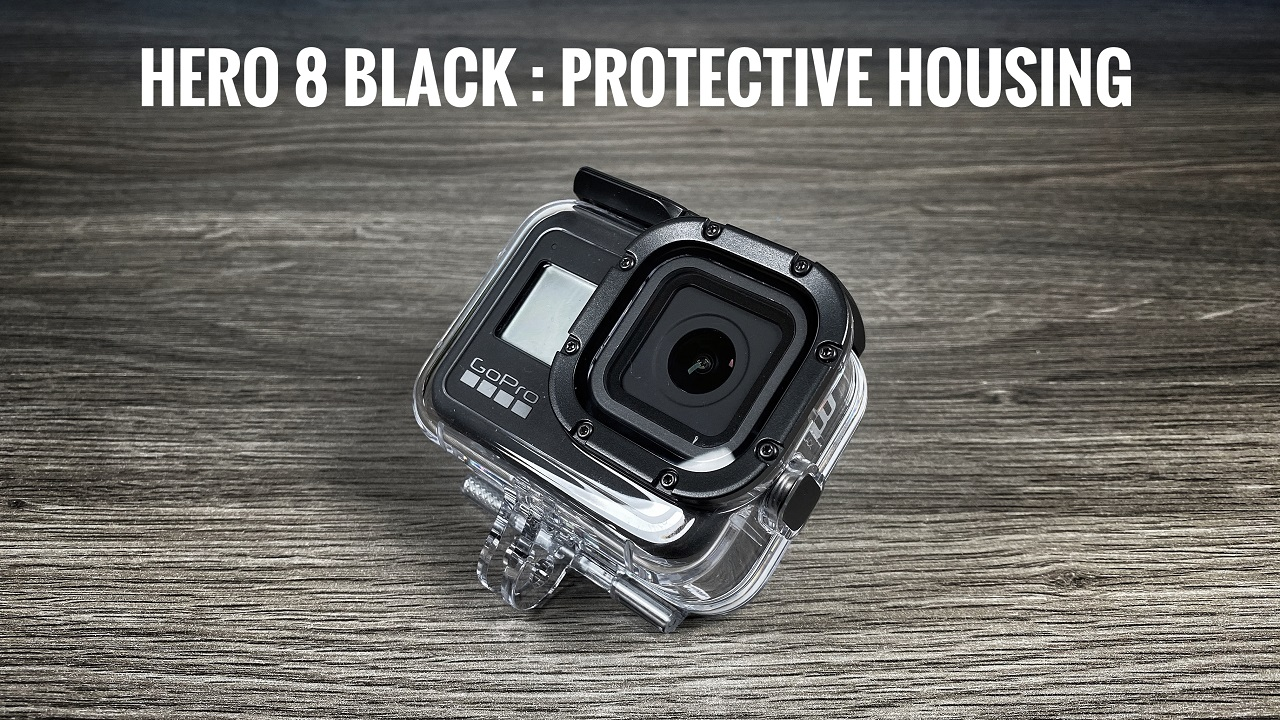 Protective housing for the GoPro Hero 8 Black.