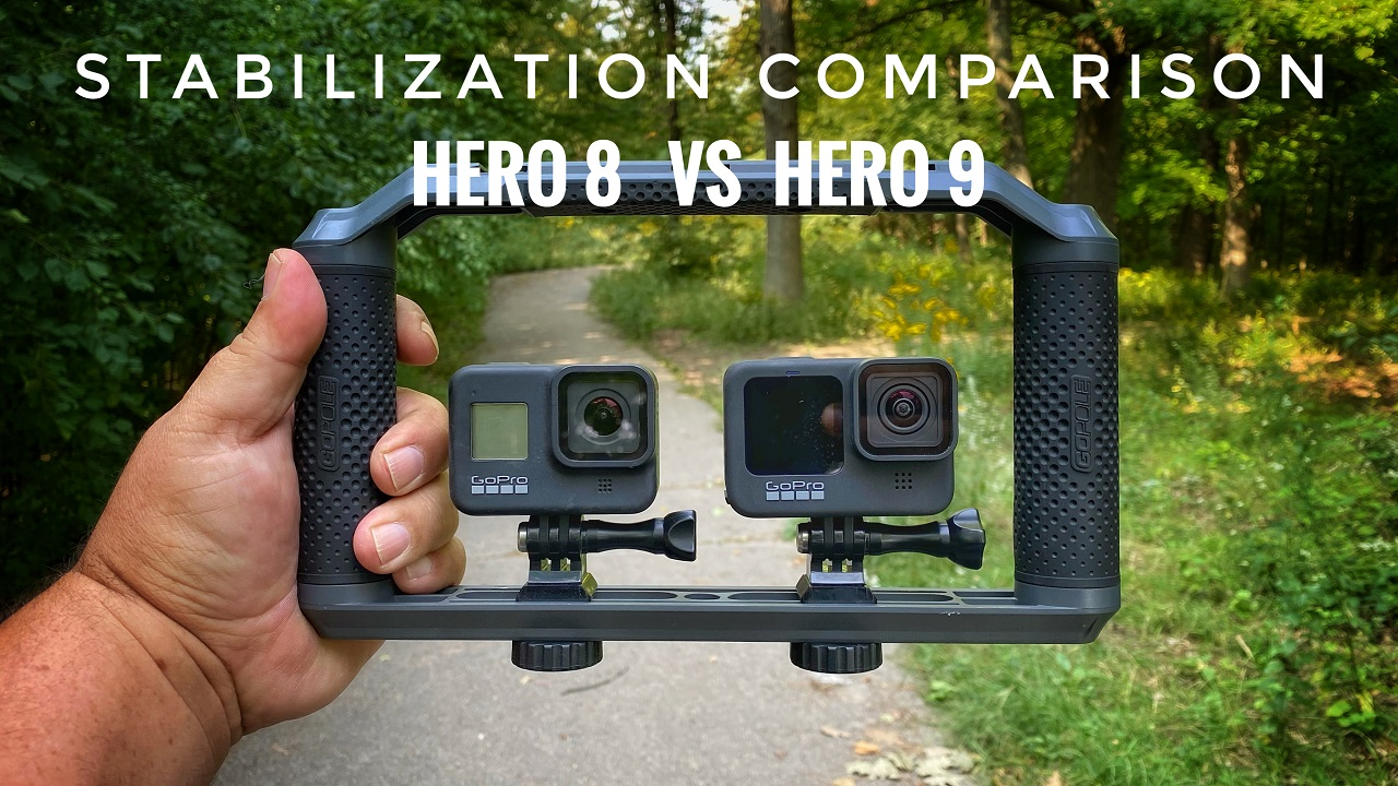 Stabilization comparison of the GoPro Hero 8 Black versus Hero 9 Black.