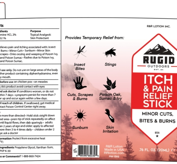rugid pain relief stick product label
