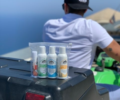 rugid skin protection products on a speed boat