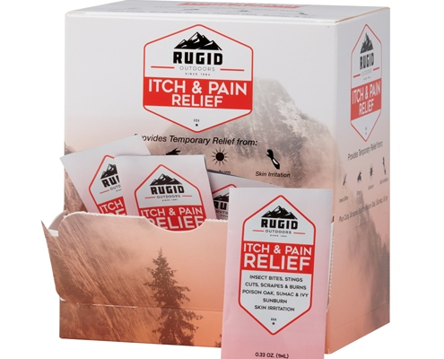 box of rugid single use itch and pain relief foil packs