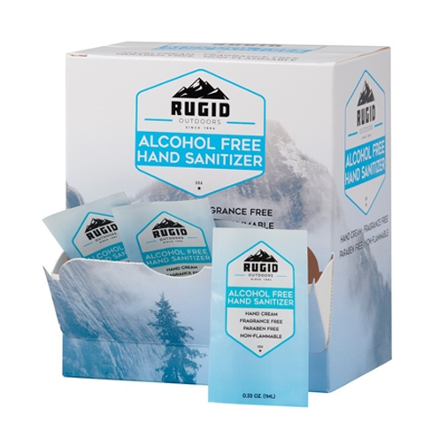 box of rugid single use alcohol free sanitizer foil packs